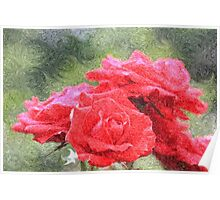 Painterly Red English Roses with Green Swirls Poster