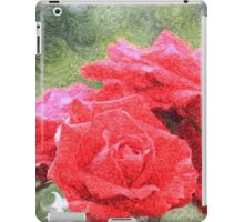Painterly Red English Roses with Green Swirls iPad Case/Skin