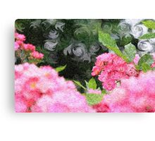 Painterly Pink Wild Roses with Green White Swirls 2 Canvas Print