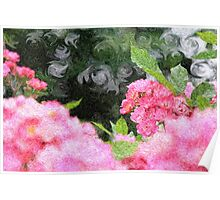 Painterly Pink Wild Roses with Green White Swirls 2 Poster