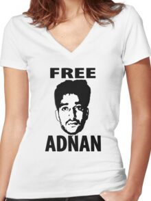 Free Adnan Women's Fitted V-Neck T-Shirt