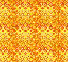 Yellow and Orange Fiery Circle Abstract Design by Mercury McCutcheon