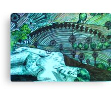 Lady Loves a Landscape - Drypoint etching Canvas Print
