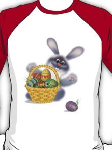 Easter Bunny With Egg Basket T-Shirt