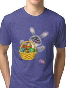 Easter Bunny With Egg Basket Tri-blend T-Shirt