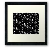 White on Black Deathly Hallows and Stars Pattern Framed Print