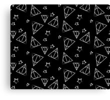White on Black Deathly Hallows and Stars Pattern Canvas Print