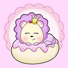 Cute baby animal lion on a pink icing Donut by Tee Brain Creative