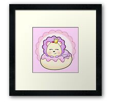 Cute baby animal lion on a pink icing Donut Framed Print