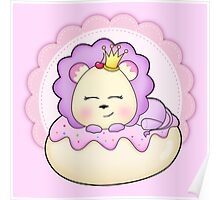 Cute baby animal lion on a pink icing Donut Poster