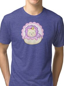 Cute baby animal lion on a pink icing Donut Tri-blend T-Shirt