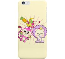 Cute baby zoo animal monkey playing maracas and dancing with lion friend iPhone Case/Skin