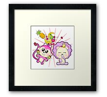 Cute baby zoo animal monkey playing maracas and dancing with lion friend Framed Print