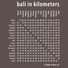 Bali in Kilometers Plain White by Ronald Wigman