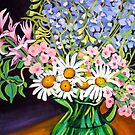 Daisies & Delphiniums by marlene veronique holdsworth