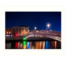 Dublin Ha'penny Bridge - Irish Starry Night Art Print