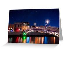 Dublin Ha'penny Bridge - Irish Starry Night Greeting Card