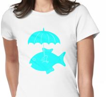 Fish with umbrella Womens Fitted T-Shirt