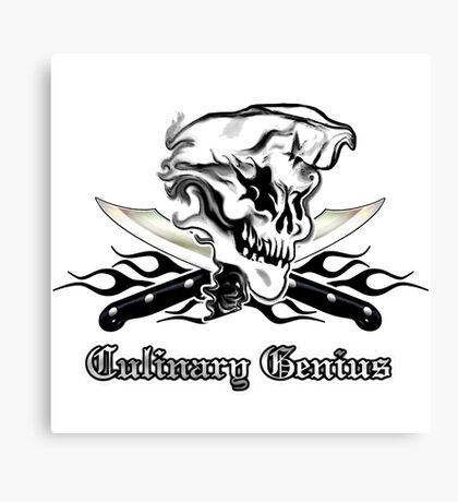 Chef Skull 10: Culinary Genius 3 black flames Canvas Print