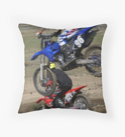 Motocross - Under here; I like this shot for a card; send it to a fellow rider (sorry you're under the weather) Throw Pillow