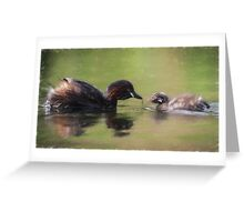 Little Grebe Family (Colour Pencil Effect) Greeting Card