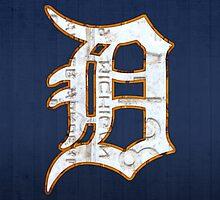Detroit Tigers Vintage Logo Recycled License Plate Art by designturnpike