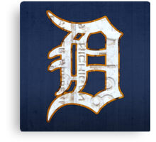 Detroit Tigers Vintage Logo Recycled License Plate Art Canvas Print