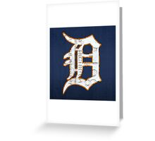 Detroit Tigers Vintage Logo Recycled License Plate Art Greeting Card