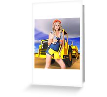blonde sext construction worker Greeting Card