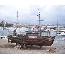 Old Boat in Chania Photographic Print