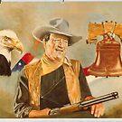 John Wayne and by dummy