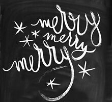 Chalkboard Winter Merry Star Holiday Design by hellosailortees