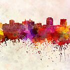 Colorado Springs skyline in watercolor background by paulrommer