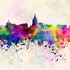 Fresno skyline in watercolor background by paulrommer