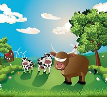 Cows and Bull on Lawn by AnnArtshock