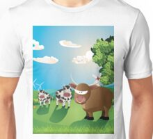 Cows and Bull on Lawn Unisex T-Shirt