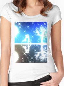 White silhouettes on colorful background Women's Fitted Scoop T-Shirt
