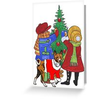 Christmas themed Basenji and children Greeting Card