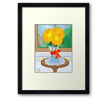 Flowers by a Window Framed Print