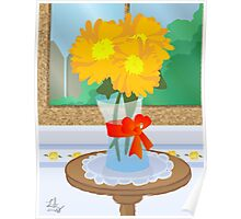 Flowers by a Window Poster