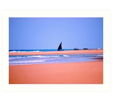 THE DOW.AND THE OPEN SEA, NATIVE FISHERMANSBOAT IN MOZAMBIQUE Art Print