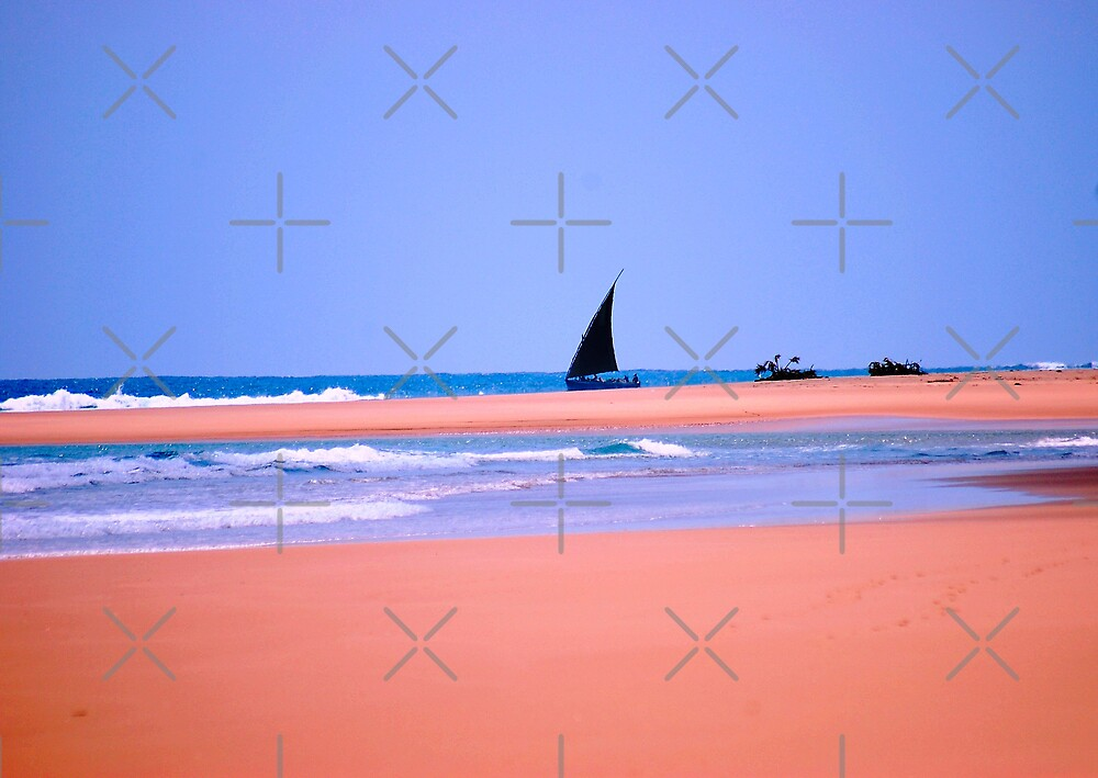 THE DOW.AND THE OPEN SEA, NATIVE FISHERMANSBOAT IN MOZAMBIQUE by Magriet Meintjes