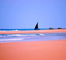 THE DOW.AND THE OPEN SEA, NATIVE FISHERMANSBOAT IN MOZAMBIQUE by Magaret Meintjes