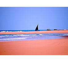 THE DOW.AND THE OPEN SEA, NATIVE FISHERMANSBOAT IN MOZAMBIQUE Photographic Print