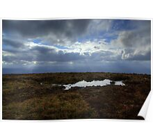 A pool in the Grass and Clouds in the Sky- View from Summit of Slievenamon Poster