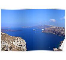 Santorini Caldera from near Akrotiri Poster