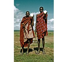 Men with ostrich eggs Photographic Print
