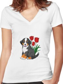 Bernese Mountain dog puppy with tulips Women's Fitted V-Neck T-Shirt