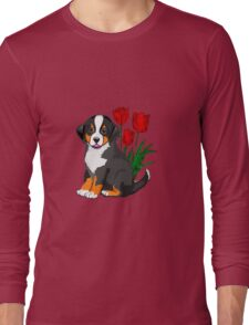 Bernese Mountain dog puppy with tulips Long Sleeve T-Shirt