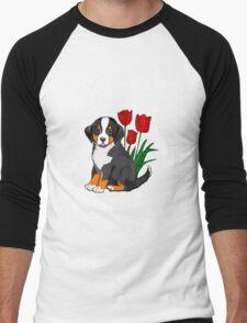 Bernese Mountain dog puppy with tulips Men's Baseball ¾ T-Shirt